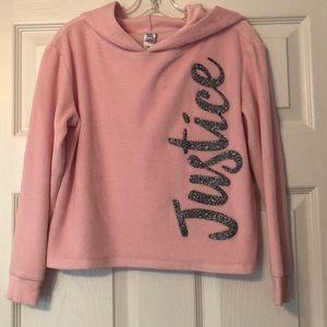 Justice velour crop hoodie